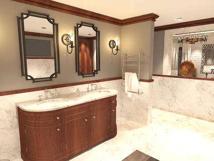 جناح نوم في بيت ريفي بالولايات المتحدة الامريكية :  حمام تنفيذ Quattro designs