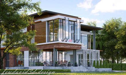 บ้านพักอาศัย 2ชั้น คุณ วีรยุทธฯ อ.แก่งกระจาน จ.เพชรบุรี:  เรือนกระจก by fewdavid3d-design