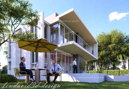 บ้านพักอาศัย 2ชั้น อ.หัวหิน จ.ประจวบคีรีขันธ์:  ระเบียง, นอกชาน by fewdavid3d-design