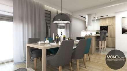 Jadalnia z kuchnią w nowoczesnym klimacie: styl , w kategorii Jadalnia zaprojektowany przez MONOstudio