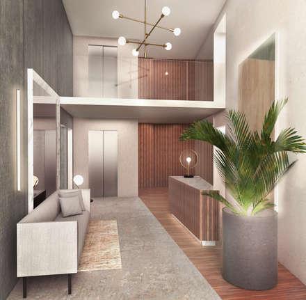 Segundo puesto concurso privado | Inmobiliaria Edifica : Centros de exhibición de estilo  por Gracia Nano Studio