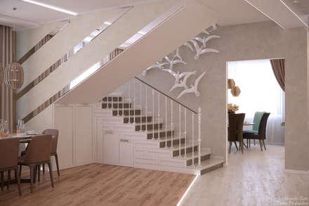 Дизайн гостиной в стиле модернизм в частном доме по ул. Монтажная, г.Краснодар: Лестницы в . Автор – Студия интерьерного дизайна happy.design