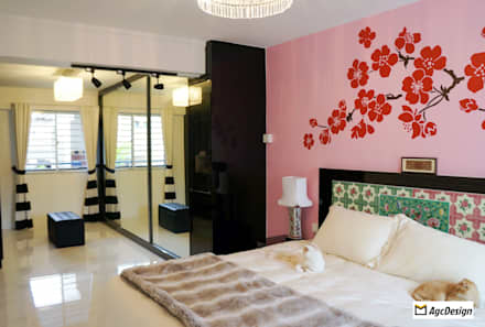 3-Room HDB @ Whampoa Drive: colonial Bedroom by AgcDesign