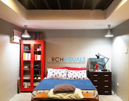 L Residence: industrial Bedroom by Archvisuals Design Studio