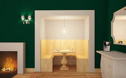 Nicchia per colazione: Sala da pranzo in stile in stile Eclettico di Arch. Francesco Antoniazza - Dimore di Lago