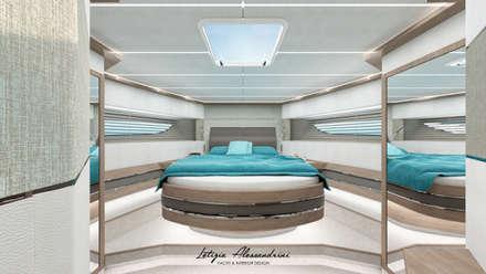 Cabina di prua di uno yacht di 23m: Yacht & Jet in stile in stile Moderno di Letizia Alessandrini - Yacht & Interior Design