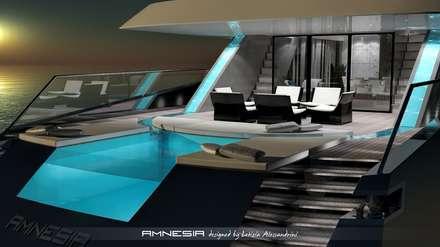 AMNESIA yacht: Piscina in stile in stile Moderno di Letizia Alessandrini - Yacht & Interior Design