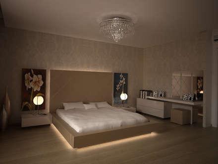 HEBART MİMARLIK DEKORASYON HZMT.LTD.ŞTİ. – Sinpaş Lagün İris villa: modern tarz Yatak Odası