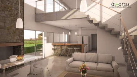 CASA VS | INTERIORES | ESTAR  INTEGRADO EN DOBLE ALTURA: Livings de estilo clásico por áwaras arquitectos