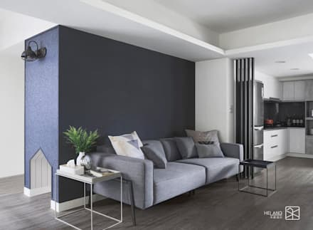 沙發背牆:  客廳 by 禾廊室內設計