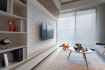 Salas / recibidores de estilo escandinavo por 沐澄設計
