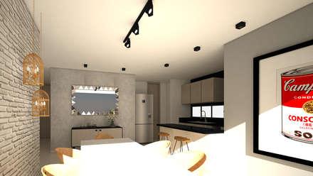 Diseño interior apartamento estilo industrial: Salas de estilo industrial por Savignano Design