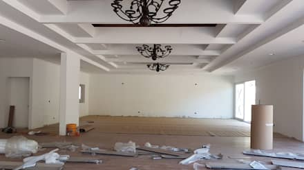 Vista Sala de estar y comedor: Comedores de estilo moderno por Plan V Arquitectos Ltda