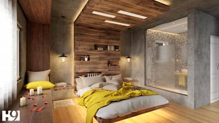 industrial Bedroom by H9 Design