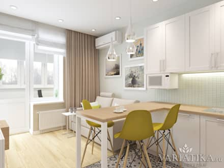 Дизайн однокомнатной квартиры - 44 м²: Гостиная в . Автор – variatika