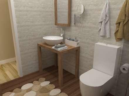 Diseño y reforma de vivienda unifamiliar en A Coruña: Baños de estilo rústico de A-kotar