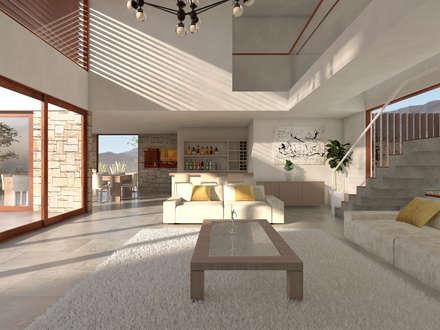 mediterranean Living room by Uno Arquitectura