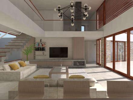 Vivienda La Chimba: Livings de estilo moderno por Uno Arquitectura