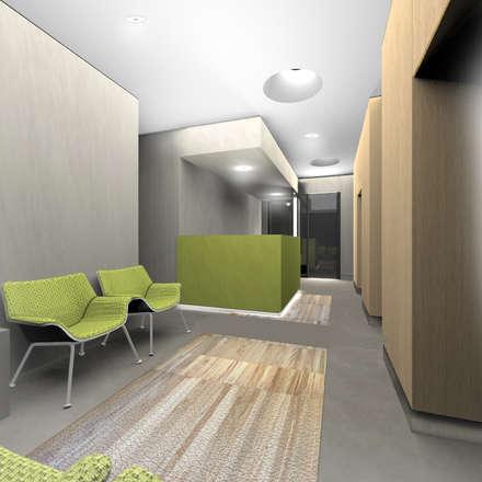 Render della sala d'attesa, visuale verso l'ingresso: Ingresso & Corridoio in stile  di VITAE DESIGN STUDIO