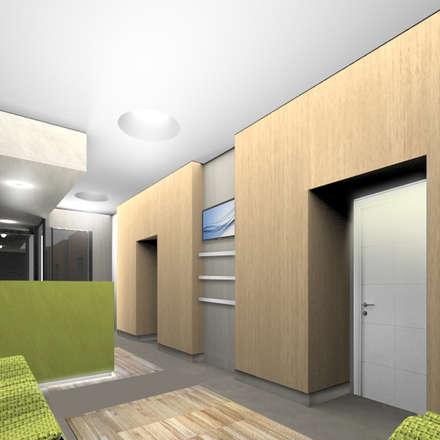 """Render della sala d'attesa, con visuale verso le """"scatole-stanze"""" di visita in legno: Ingresso & Corridoio in stile  di VITAE DESIGN STUDIO"""