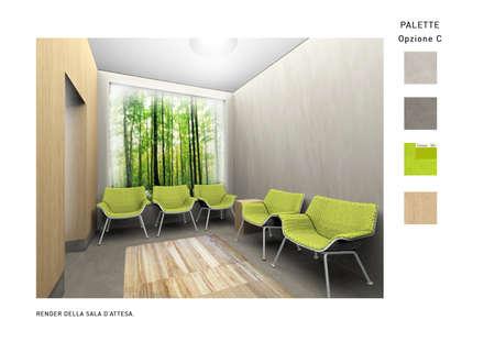 """Render della sala d'attesa, con visuale verso la """"finestra verde"""", e studio della palette di colori utilizzata in tutta la struttura: Ingresso & Corridoio in stile  di VITAE DESIGN STUDIO"""