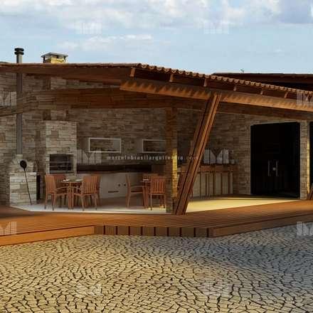 rustic Garage/shed by Marcelo Brasil Arquitetura