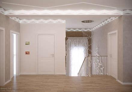 Дизайн коридора и лестницы в стиле модернизм в частном доме по ул. Монтажная, г.Краснодар: Лестницы в . Автор – Студия интерьерного дизайна happy.design