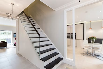 Thames Ditton House Refurbishment:  Stairs by Model Projects Ltd