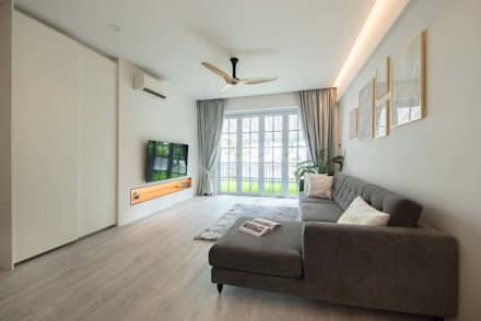 EASTWOOD GREEN 2: scandinavian Living room by Eightytwo Pte Ltd