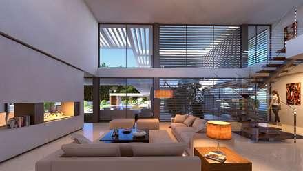 MORADIA SG1: Salas de estar modernas por Traçado Regulador. Lda
