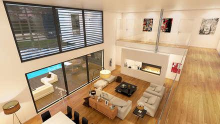 MORADIA PF1: Salas de estar modernas por Traçado Regulador. Lda