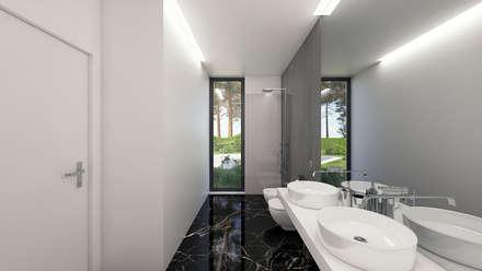 MORADIA PF1: Casas de banho modernas por Traçado Regulador. Lda