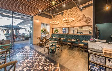 Pomeriggio Mozzarella Bar Interior: Restaurantes de estilo  por Zoffoli Arquitectura