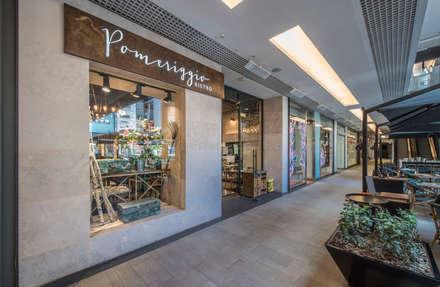 Pomeriggio Mozzarella Bar Exterior: Restaurantes de estilo  por Zoffoli Arquitectura