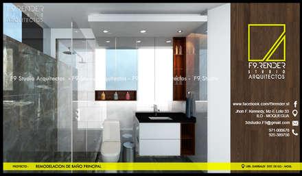 Vista frontal de Baño Principal: Baños de estilo moderno por F9 studio Arquitectos