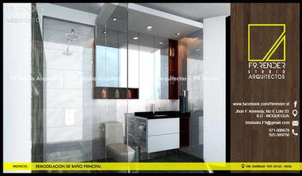 Vista Lateral de Baño Principal: Baños de estilo moderno por F9 studio Arquitectos