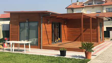 Modelo | T2 100m²: Casas pré-fabricadas  por Discovercasa | Casas de Madeira & Modulares