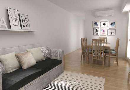 Obra Ricardo Gutierrez - Diseño Integral Living comedor: Livings de estilo escandinavo por Bhavana