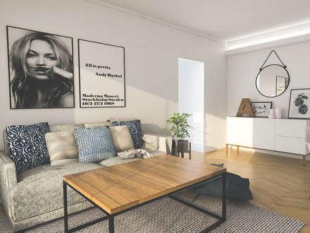 Obra Blanco Encalada - Diseño Living : Livings de estilo escandinavo por Bhavana
