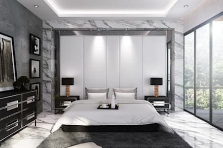 Headboard Backdrop Master room:  Kamar Tidur by Lighthouse Architect Indonesia