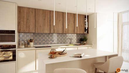 Дизайн интерьера кухни в белом и коричневом цвете: Встроенные кухни в . Автор – Art-i-Chok