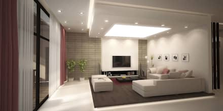 Basement Family Room: mediterranean Living room by SPACES Architects Planners Engineers