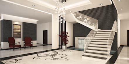 Stairs at Basement:  Corridor & hallway by SPACES Architects Planners Engineers
