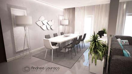 """projecto """"Jungle"""": Salas de jantar modernas por Andreia Louraço - Designer de Interiores (Contacto: atelier.andreialouraco@gmail.com)"""