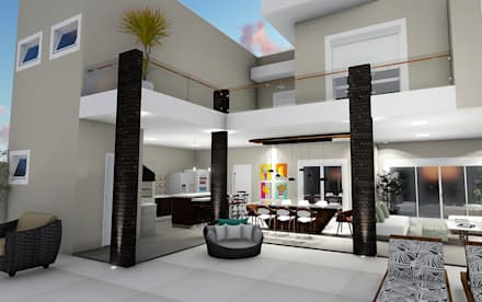 Área Gourmet: Casas unifamilares  por Trivisio Consultoria e Projetos em 3D