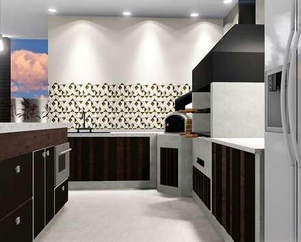 Área Gourmet para surpreender: Casas unifamilares  por Trivisio Consultoria e Projetos em 3D