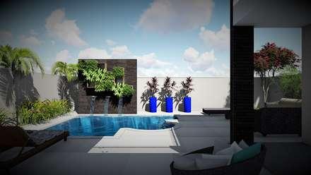 Hồ bơi trong vườn by Trivisio Consultoria e Projetos em 3D