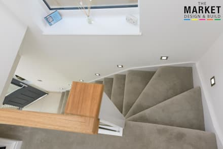 Heathrow West House Rear Extension And Refurbishment:  Stairs by The Market Design & Build