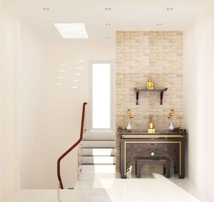 Phòng thờ trang nghiêm, nhã nhặn:  Cầu thang by Công ty TNHH Xây Dựng TM – DV Song Phát