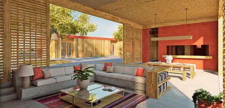 SALA COMEDOR: Casas de campo de estilo  por PROMENAD ARQUITECTOS